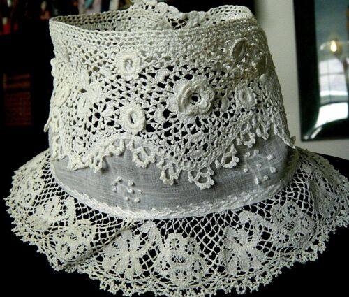 Antique Collar lace high neck  COMBO hand emb/ed voile Irish lace &bobbin lace