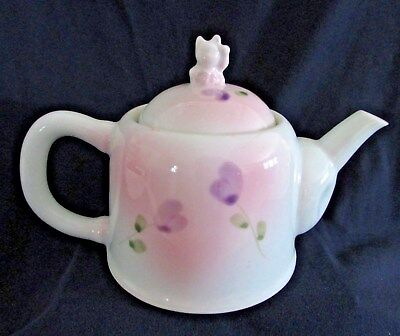 Pretty Teapot with Lucky Kitty Image on Lid, Floral Design, 2 Cups