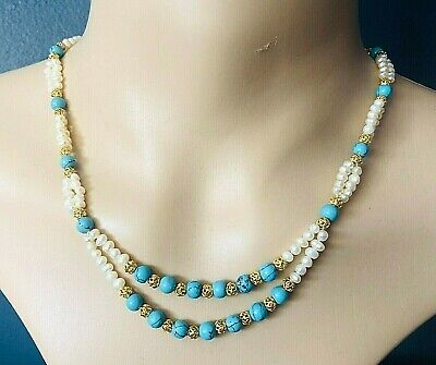60s -70s Jewelry – Necklaces, Earrings, Rings, Bracelets Vintage 1960's Freshwater Pearl & Turquoise Bead Necklace 16.5