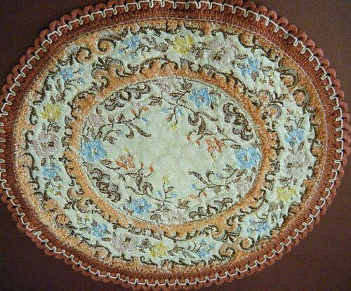 Antique French dooly tapestry textile w/t cut velvet in pastel tones home décor