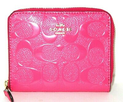 Coach Small Signature Zip Around Wallet Neon Pink Patent Leather F38709 New $175