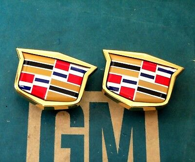 NEW CADILLAC GOLD PLATED CREST OEM EMBLEM SET WIRE WHEEL VOGUE E&G ORNAMENT HOOD