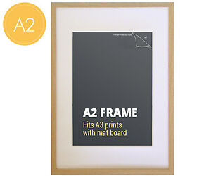 A2 Birch Photo Frame + Mat Board - Fits A3 or A2 Print - Picture Frame