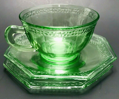 Green Depression Glass Teacup Set x3 w/ Plates and Saucer