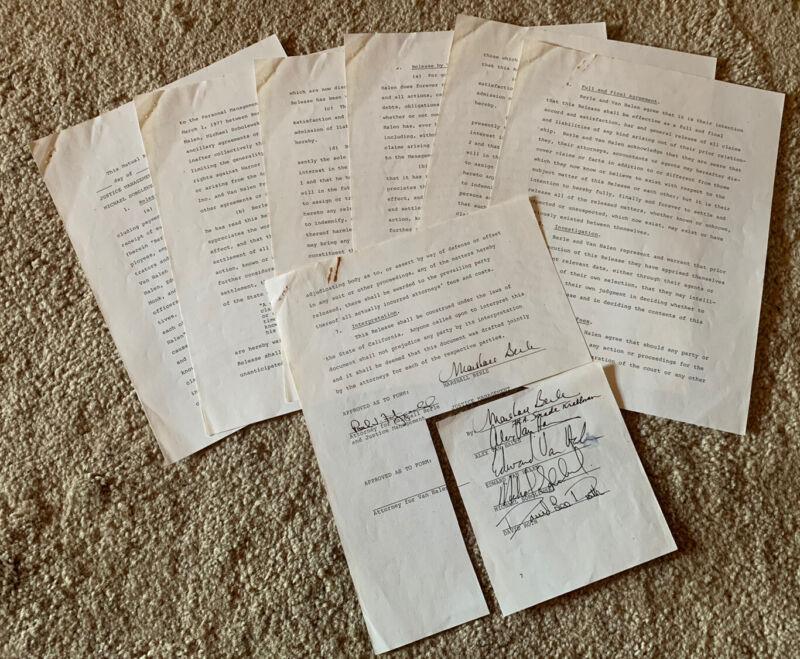 Van Halen All 5 ORIGINAL 1979 Management Release Contract Signed BAS Certified 2