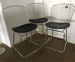 3 Structube Modern Wire Frame Counter/Bar stools
