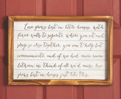 Love Grows Best in Small Houses Framed Wooden Sign Rustic Wall Decor 16