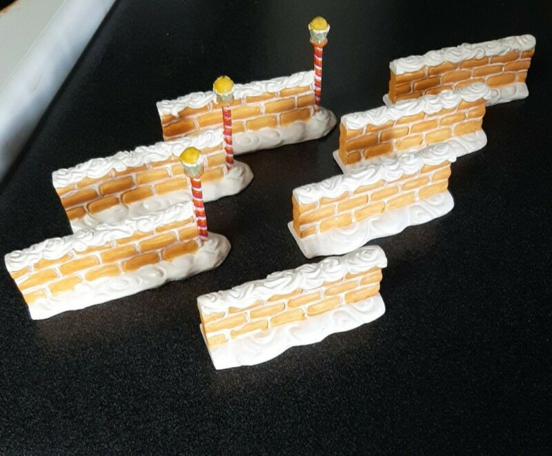 """2004 LEMAX Sugar N Spice """"FROSTED WAFER WALL"""" 7 pieces"""