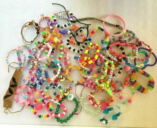 Lot Of 63 Girls Teen Woman Plastic Bracelets + some Wood, Metal, Leather