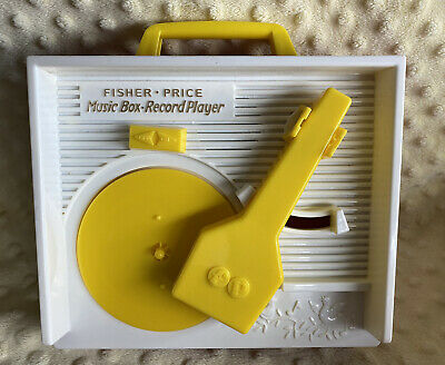 Vintage 1971 Fisher Price Music Box Record Player With 5 Records Toy Rare !