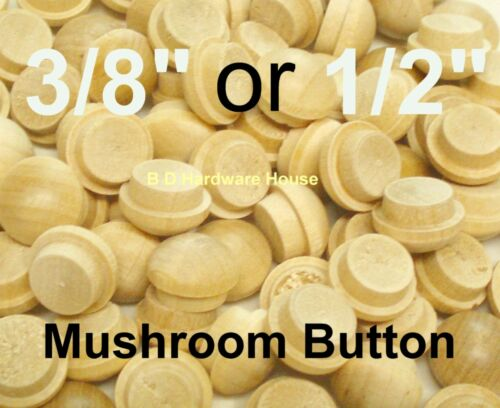 "3/8"" or 1/2"" Maple Mushroom Furniture Buttons - Wood Screw Hole Plugs -10 to 500"