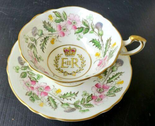 PARAGON Antique Teacup & Saucer Set ER HM Queen Elizabeth II Coronation 1953