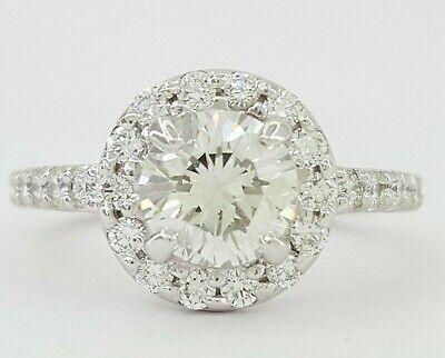 1.75 ct Platinum Round Brilliant Cut Diamond Halo Engagement Ring GIA I / SI1