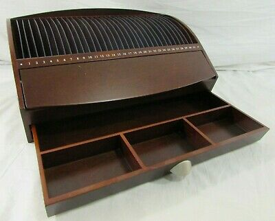 Levenger Redwood 31 Slot Day Letter Bill Mail Organizer Desk Top W Drawer