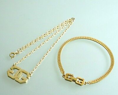 100% Authentic GIVENCHY Gold-Tone Necklace & Bracelet  Jewelry Set