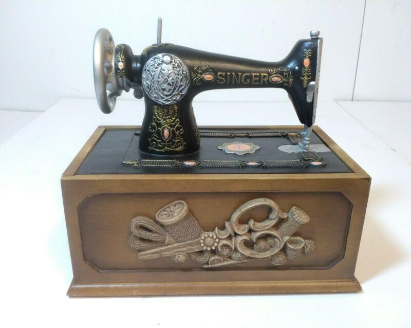 Replica Antique Singer Sewing Machine Mini Sewing Box Storage Read Description