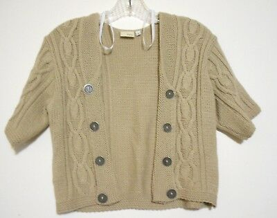 Day Trip Cable Sweater - daytrip Size M Beige Open Front Shrug  Elbow Sleeve Cable Stitch Knit Sweater