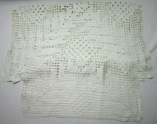 Vintage Table Runners White Crochet Matching Set Of 2 Geometrical Handmade