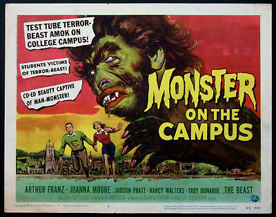 MONSTER ON THE CAMPUS REYNOLD BROWN HORROR ART 1958 TITLE CARD
