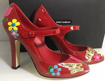 NEW Dolce & Gabbana Red Patent Appliqué Maryjane Pumps Shoes Size 37.5/7.5 $1000
