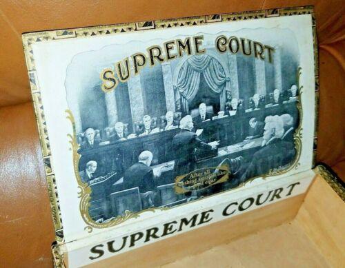 Antique SCOTUS Chief Justice Ed D White Bengough Label Supreme Court Cigar Box