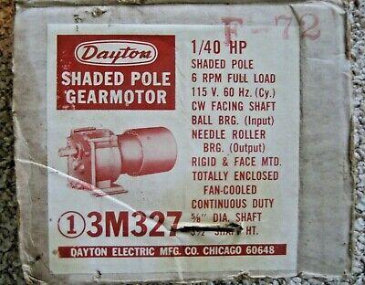 Dayton Model 3m327 Shaded Pole Gearmotor 6 Rpm 140 Hp 115 Volts 60hz