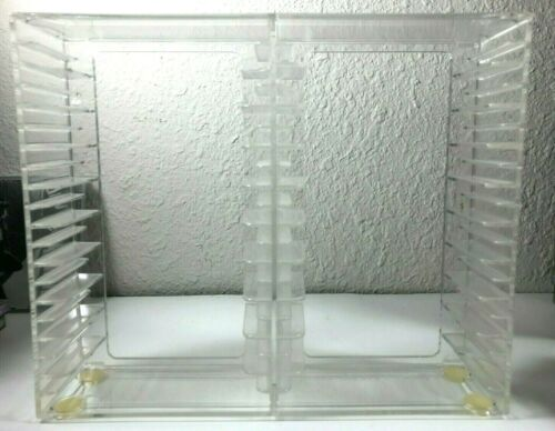 Vintage 1993 Cassette Tape Storage US Acrylic Plastic Clear Holder Fits 20