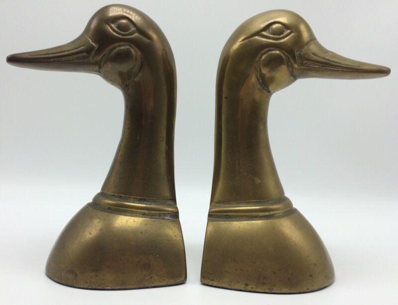 Vintage Pair Brass Mallard Duck Head Bookends Leonard Silver Mfg Library Office