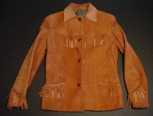 1955 Womens Leather Suede Fringe Jacket Coat Rust Medium Brown Vtg Lined EUC LS