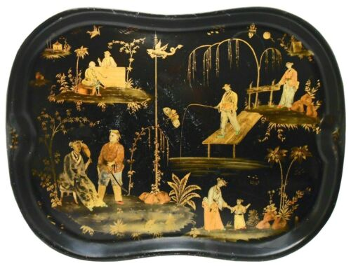 """19TH C CHINOISERIE ANTIQUE 24"""" BLACK LACQUERED TEA TRAY, W/HND PNTD GILT FIGURES"""