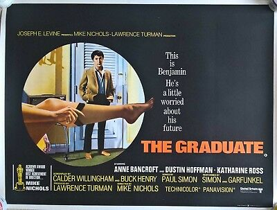 THE GRADUATE   -1967 UK QUAD ORIGINAL POSTER . 30 x 40 inches-ON LINEN