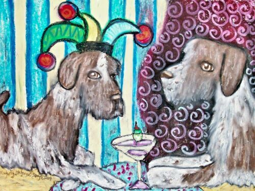 German Wirehaired Pointer Dog Art 4x6 Print NEW Coffee Dogs KSams