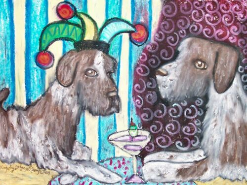 German Wirehaired Pointer Drinking Coffee Original Painting 9 x 12 Vintage Style