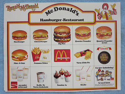 Mcdonalds Danish Language Menu Placemat