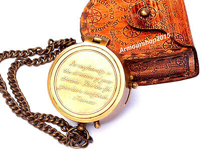 Compass On Chain ( Nautical Brass Compass on Chain with Leather Case Directional Magnetic Compass)