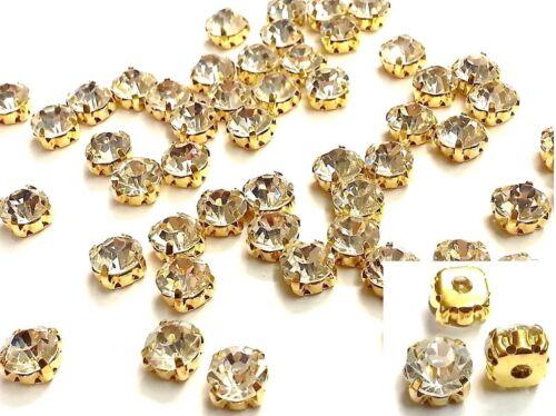 CraftbuddyUS50pcs 8mm Sew On Gold Set AB Clear Crystals Diamante Rhinestone Gems