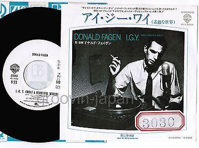 "Promo DONALD FAGEN I.G.Y. /Walk Between...Steely Dan JAPAN 7"" RECORD P-1720"