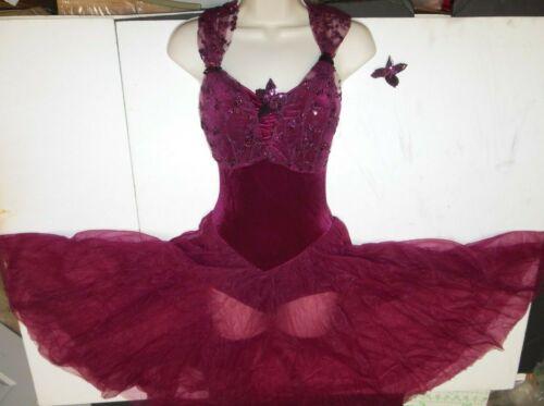 Ladies Small Ballet Lyrical solo Costume sequin fabric chiffon skirt Wine Velvet