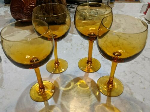 Vintage Amber Glass Barware Balloon Bowl Wine Glasses Set of 4 MCM Mid-Century