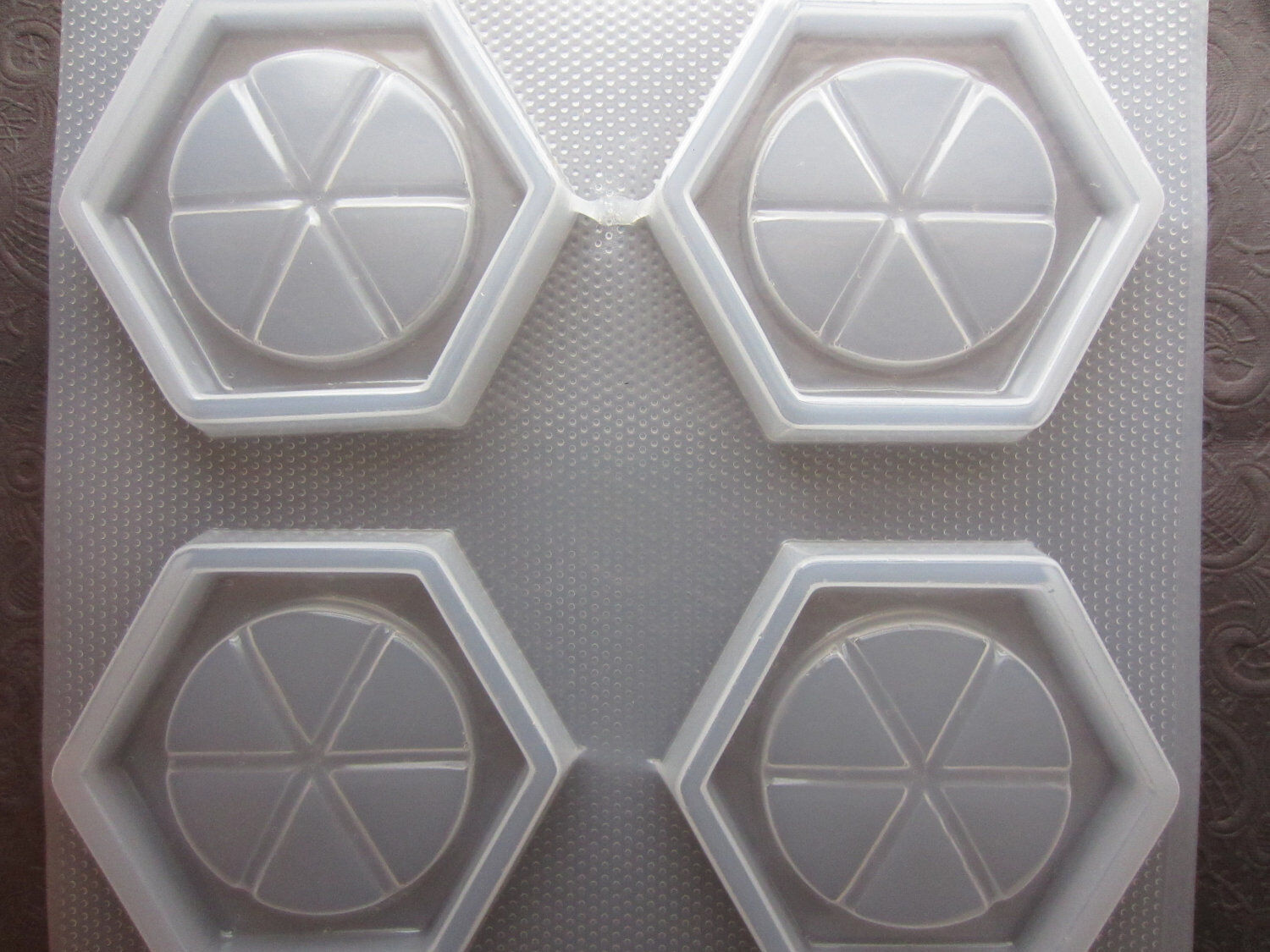 Resin Mold Coaster Set 3.75 95mm Grided Hexagon 4 Count Drink Coasters Molds