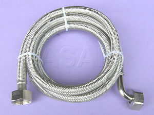 dishwasher washing machine stainless steel braided inlet fill hose 2m acc039 ebay. Black Bedroom Furniture Sets. Home Design Ideas
