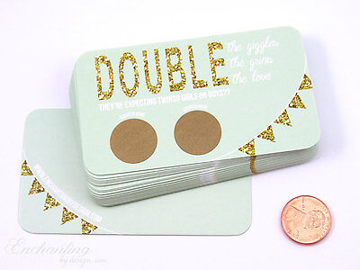 Guess the gender twins baby shower gender reveal scratch off game card