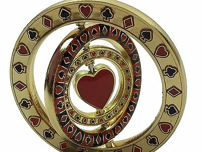Triple Spinner Heart Card Guard Poker Hand Protector Metal NEW