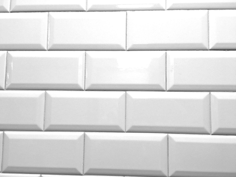 White 3x6 Beveled Shiny Glossy Finish Ceramic Subway Tile Backsplash