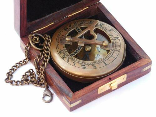 Handmade Antiquated Nautical Brass Sundial Compass with Chain/Wooden Case