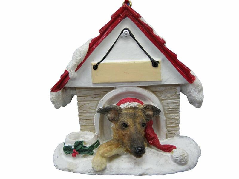 Brindle Greyhound Doghouse Ornament Hand Painted and Easily Personalized