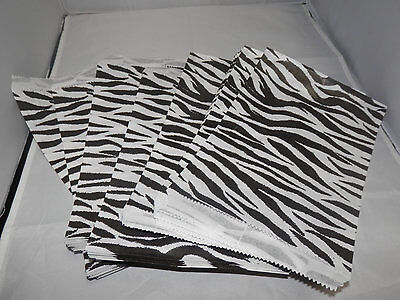 100 6x9 Zebra Animal Print Paper Merchandise Bags Black And White Party Bags