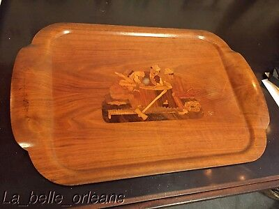FANTASTIC 1930'S INLAID TRAY LUMBERJACKS PLAYING CARDS. RARE HASKELITE STAMPED