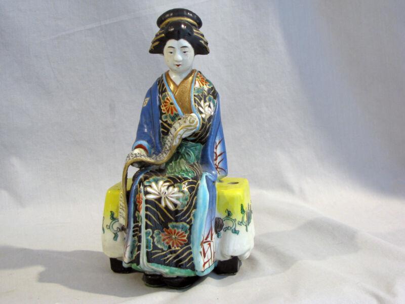 Vintage ANTIQUE JAPANESE KUTANI PORCELAIN GEISHA  - LAMP BASE