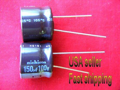 4 pcs  -  150uf  100v   Nichicon radial electrolytic FREE SHIPPING